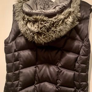 North Face CL black puffer vest with hood